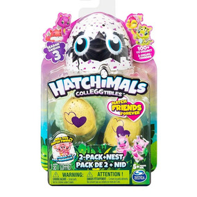 Hatchimals 2 Huevos + 1 Nido Blister Huevo Serie 3 Educando