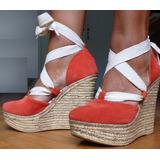 Sandalia Zapato Taco Chino Alto Y Plataforma Gamuza Rojo