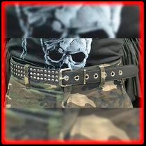 Cinturon Cuero Con Remaches Metal Rock Cinto - Metal Heavy