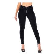 Pantalón Jeans Mujer Negro Mezclilla Stretch Cierre Botones