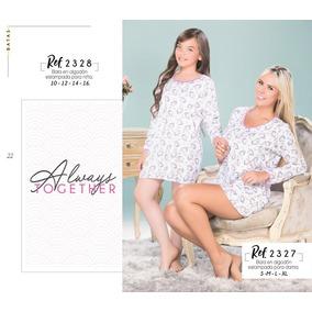 Pijama Mama E Hija Set X 2 Batas Estampado Unicornio R 27.28