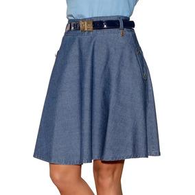 Saia Saia Via Tolentino Godê Jeans Moda Evangélica Azul