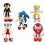 5 Pelúcias Turma Do Sonic Tails Shadow Amy Rose Knucles