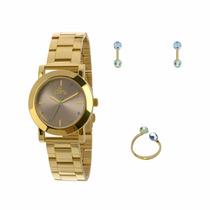 Kit Relógio Allora Anel E Brincos Dourado - Al2035fbx/k4