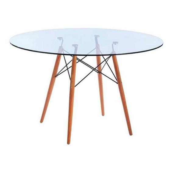 Mesa De Comedor Redonda De Vidrio Pata Madera - Eames 120cm
