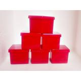 250 Caixinhas De Acrílico 4x4 Vermelha - Enfeite De Mesa