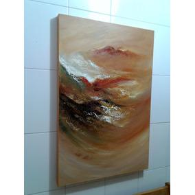 Quadro Abstrato Decorativo Para Sala 60x90 Pintado A Mão