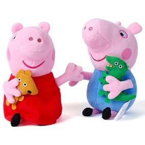 Kit 2 Bonecos Pelúcias , Peppa Pig E Jorge George Novo
