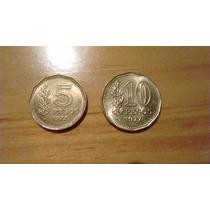 Pesos Ley - Almirante Guillermo Brown. 5 Y 10 Pesos 1977