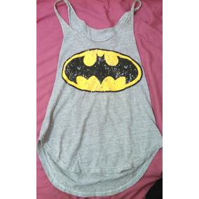 Remera Batman Musculosa Gris Mujer