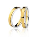 Par Alianças Bruner Ouro 18k Casamento Reta Quadrada Kj