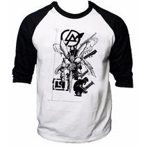 Camisa Raglan 3/4 Linkin Park Albums Meteora Hybrid Theory