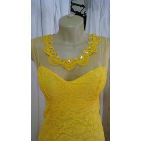Vestido Festa Longo Amarelo De Renda Com Pedras