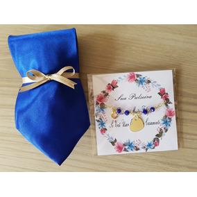 8 Kits Pulseira + Gravata Lembrança P Padrinhos Casamento