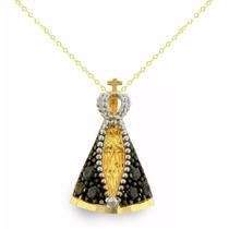 Corrente Ouro18k + Pingente Nossa Senhora Aparec Viagold T36