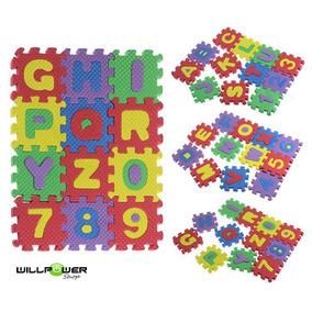 Quebra Cabeça Eva Alfabeto E Números 36 Peças De 5 X 5 Cm