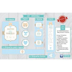 Invitación Bautizo/baby Shower Con Decoración Para Candy Bar