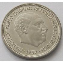 España Moneda 5 Pesetas 1957 (58) Km # 786 Excelente