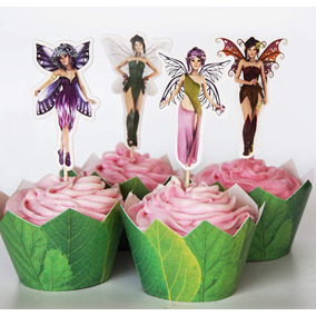 24 Fairy Cupcake Toppers + 24 Wrappers - Red Fox Tail