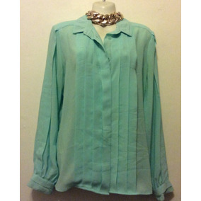 Blusa Manga Largo Color Verde Menta Talla Xl