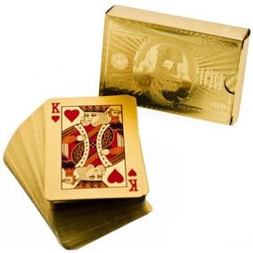 Mazo De Cartas Poker Doradas Naipes Ultra Finos Baraja Oro!!
