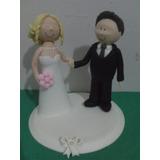 Noivinhos Topo De Bolo Biscuit Casamento - Casal Apaixonado