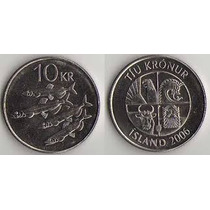 Moeda Da Islandia 10 Krona Datas Variadas Mbc 26 Mm Fc