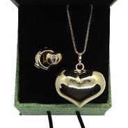 Conjunto Coração Dourado Banhado A Ouro 18 K Pinkcat