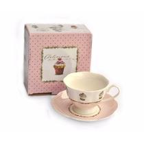 Set X 6 Tazas C Plato Porcelana Cafe Te Rosa Cupcakes