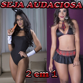 Fantasia Estudante Sexy Saia+coelha Playboy Body Coelhinha