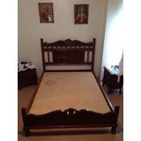 Juego Dormitorio De Madera. Cama Y Peinadora.