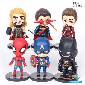 Kit 6 Heróis Vingadores Homem Aranha Batman Ferro Thor A104
