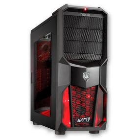 Gabinete Gamer Noga Stormer Sin Fuente Con Coolers Led Rojo