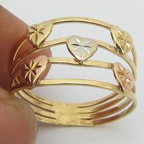 2613 Anel Tricolor De Ouro 18k 750