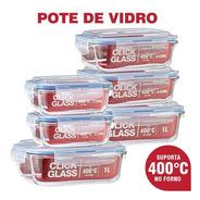 Kit Com 8 Potes De Vidro Click Glass Premium 100% Herméticos