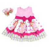 Kit Vestido Moranguinho Baby Rosa 1,2,4,6 Anos + Tiara