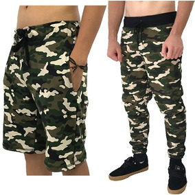 1 Bermuda Camuflada + 1 Calça Moletom Slim Fit Abrigo Shorts
