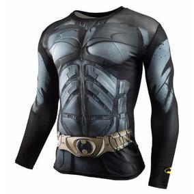 Camisa Batman Dark Knight Manga Longa De Compressão