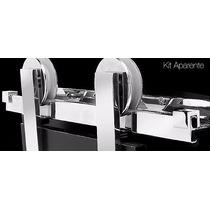 Kit Porta De Correr Roldana Aparente Perfil 1,5 Ou 2m Wf