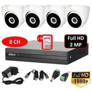 Kit Seguridad Dvr 8ch+ 4 Cámaras Domo Full Hd Exterior+disco