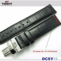 Pulseira Original Tissot Prc200 C/ Fecho - Couro Preto 19mm.