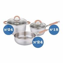 Bateria Cocina Acero 5 Piezas Triple Fondo Hudson Valley