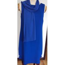 Vestido De Coktail Azul Rey Doble Falda En Cortes