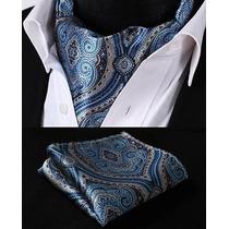 Rf404b Corbata Seda Floral Beige Azul Pañuelos Ascot