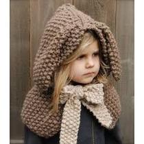 Gorro Capa Tejido A Mano Crochet Conejo Envio Gratis