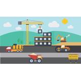 Painel Lona Festa 3,00x1,70mt Cidade Em Construção Caminhões