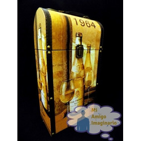 Caja Porta Botellas Vino Estuche Vintage Madera Clasico