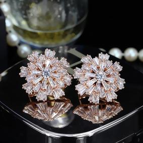 Brinco Feminino Luxo Cristal Austríaco Banhado Ouro Rose