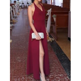 c61e11e976 Vestido De Color Vinotinto Elegante Marca Cluce - Ropa y Accesorios ...