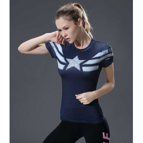Camisa Camiseta Capitão America 2 3d Top Feminina Compressão